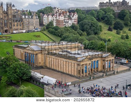 EDINBURGH, SCOTLAND - JULY 27: View of the Scottish National Gallery and the mound on July 27, 2017 in Edinburgh Scotland. The Scottish National Gallery is an important centre of European Art.