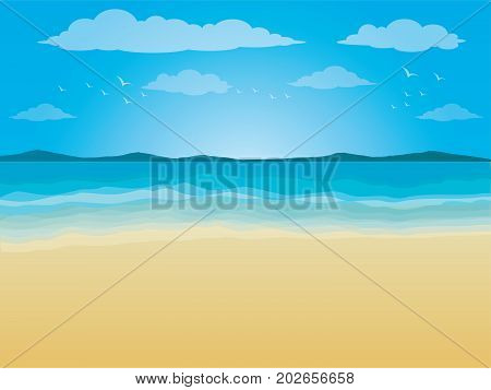 Illustration background with sea and beach ,outdoor, sunlight, coast, shore, Blue waves sea ocean abstract pattern background colorful, Vector