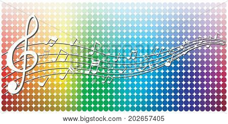 Abstract white notes music on Graphic colorful background, vector illustration