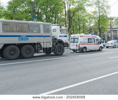 Sankt- Petersburg Russia - May 28 2017: Police cars and ambulance on the city street. Sankt- Petersburg Russia