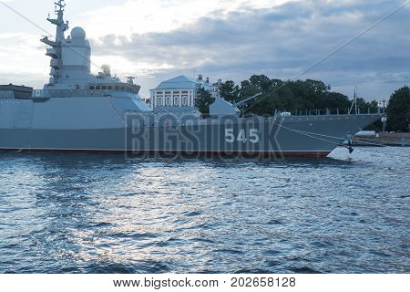 SAINT-PETERSBURG RUSSIA - JULY 20 2017: frigate Admiral Makarov in the evening before the naval parade in St. Petersburg.