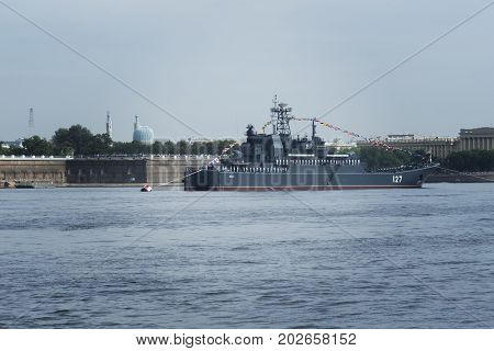 SAINT-PETERSBURG RUSSIA - JULY 30 2017: Russian Navy warship at the naval parade in St. Petersburg