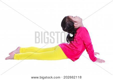 Asian Pretty Girl Is Doing Yoga Exercises. Isolated On White Background.