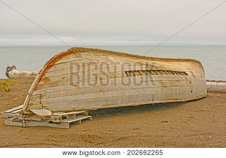 Old Boat in Need of Repair on the Arctic Ocean near Barrow Alaska
