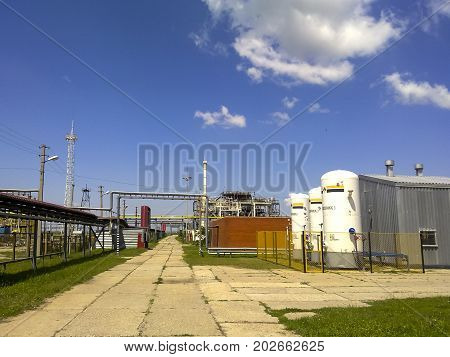 Oil Industry Object. Technological Pipelines And Equipment.