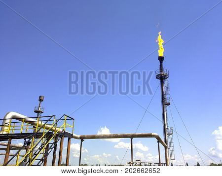 Flare For Flaring Associated Gas. The End Point Of The Pressure Relief System On The Oil Facility.
