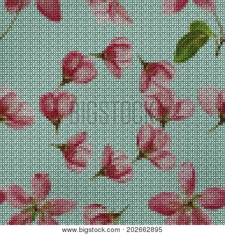 Illustration. Cross-stitch. Apple flowers. Texture of flowers. Seamless pattern for continuous replicate. Floral background collage.