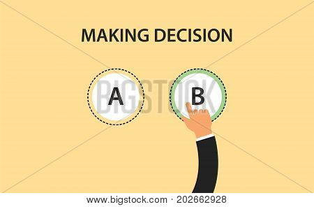 making decision concept symbol with two option a and b with hand choose one of it vector