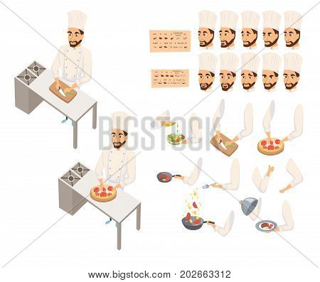 Chef in restaurant cooking. Character creation animation set. Cook in uniform preparing food in hotel. Making pizza, steak, wok, salad, holding dish. Gestures, face expression, lips, mouse sync design