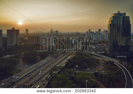 JAKARTA Indonesia. August 30 2017: bird view of highway junction and interchange overpass in the downtown