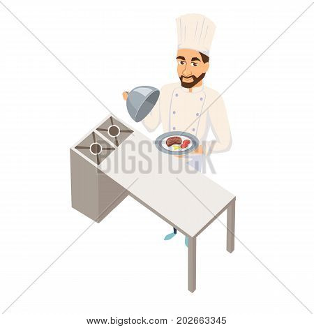 Chef holding dish. Restaurant cooking. Cook in uniform preparing food in hotel. Professional master