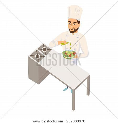 Chef making salad. Restaurant cooking. Cook in uniform preparing food in hotel. Professional master