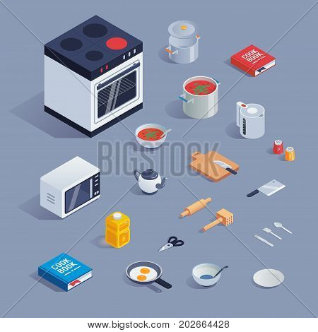 a vector colorful set with kitchen tools and kitchenware, flat style icons set.
