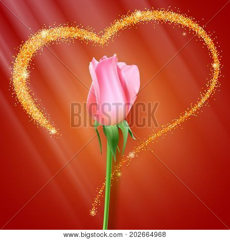 Realistic rose Bud. Close-up the flower Bud of the rose on the backdrop of big heart with glitter. Postcard the symbol of romance and love, a template for a greeting card, 3D illustration.