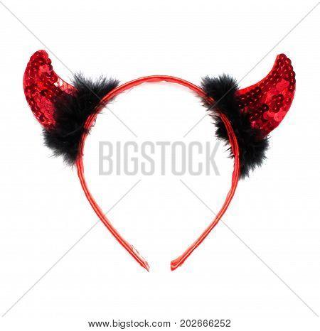 Red Devil horns isolated on white background.