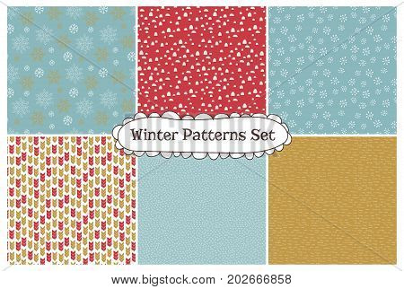 Set of abstract seamless patterns. Part of Christmas collection of illustrations. Can be used for wallpaper, packaging and stationery, surface textures, scrapbooking, fabric prints.