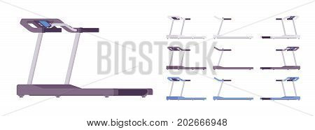 Running track set. Home-gym equipment for every type of workout, walking or running, jogging exercise. Vector flat style cartoon illustration, isolated, white background. Different positions