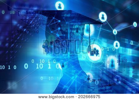3D Rendering Of Virtual Human Silhouette On Technology Background Illustration