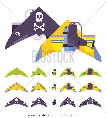 Jetpack with wings. Rocket belt device, worn on back, advanced aviation technology for travel activity in air. Vector flat style cartoon illustration, isolated, white background. Different positions
