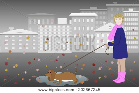 Girl walking with a dog on the autumn street, gray city landscape, colored leaves. Vector illustration