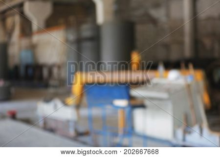 Workshop of concrete batching plant, blurred view