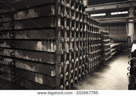 Stack of slabs in workshop of concrete batching plant