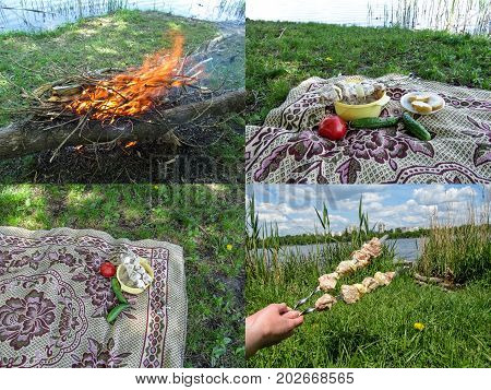 A thematic set of four photos of a picnic on nature. Bonfire of dry wood on a lawn blanket with ingredients for a barbecue on and two skewers with a shish kebab on the background of a pond and city