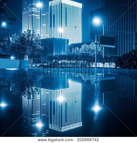 architectural complex at night in downtown tianjin,china.