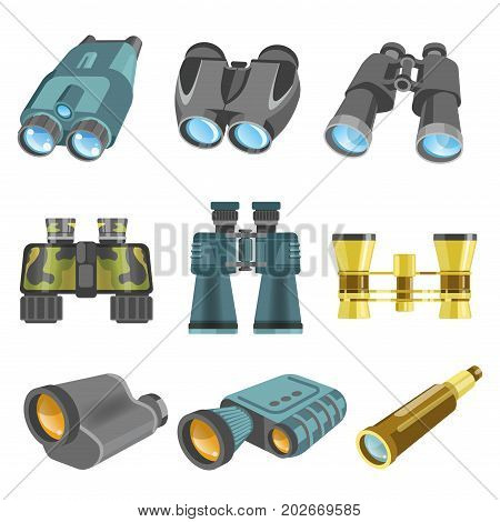 Old and modern binoculars with one lens, powerful zoom, in golden and camouflage corpuses, for theatre plays, common hunt and military needs isolated vector illustrations set on white background.