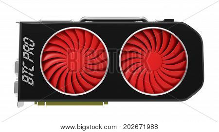 video card design for crypto currency mining. 3d illustration. suitable for bitcoin and other mining themes.