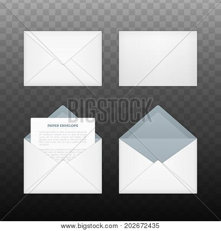 Vector opened and closed white envelopes. Isolated on transparent background mockup template of white paper envelope for business letter, advertisement, invitation cards or money.