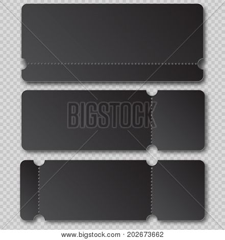 Black Ticket Template With Tear-off Element Isolated On Transparent Background. Music, Dance, Live C