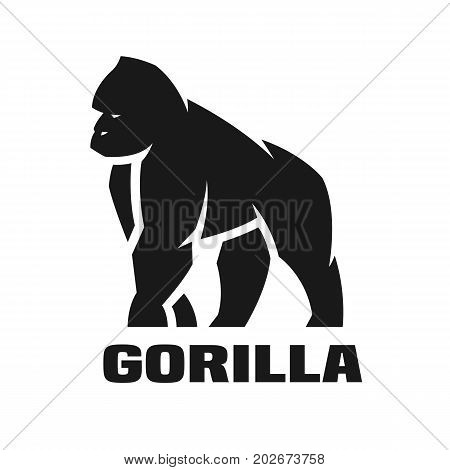 Angry Gorilla monochrome logo, symbol Vector illustration