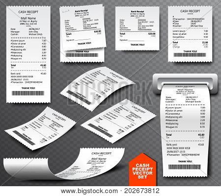 Cash Register Sale Receipt Printed On Thermal Rolled Paper. Realistic Image Collection Isolated On T