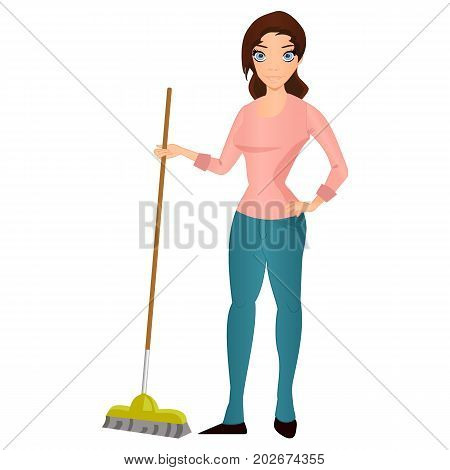Beautiful young brunette woman housewife with a mop home cleaning and homework vector Illustration