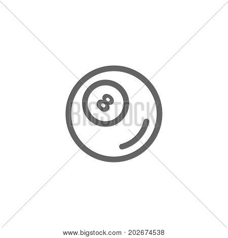 Simple billiard ball line icon. Symbol and sign vector illustration design. Editable Stroke. Isolated on white background