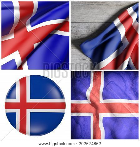 Iceland Flag Composition