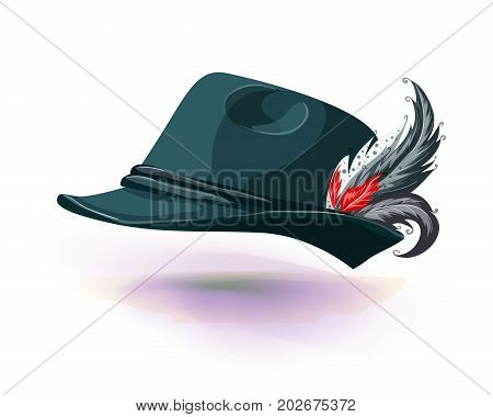 Hat with white feather sticks out. National german hat isolated on white background. Vector illustraion. Masquerade or carnival costume headdress