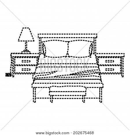 bedroom with nightstand dotted silhouette on white background vector illustration
