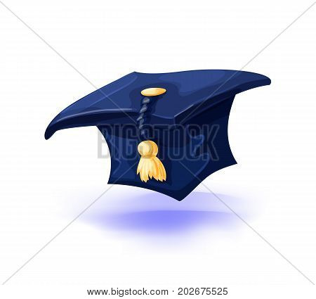 Graduation cap with gold tassel isolated on white background. College alumni hat. Vector illustration. Masquerade or carnival costume headdress