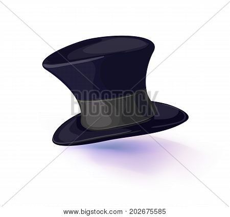 Black hat cylinder. vector illustration isolated on white background. Vector illustration. Masquerade or carnival costume headdress