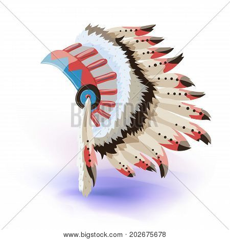 Native American Indian Headdress. Vector Color Illustration Of Tribal Chief Feather Hat. Vector illustration. Masquerade or carnival costume headdress