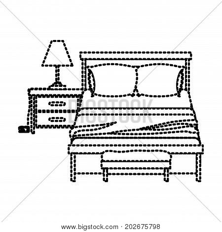 bedroom with lamp over nightstand dotted silhouette on white background vector illustration