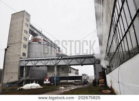 CHORTKIV - Ternopil - Ukraine - November 22 2011. Chortkiv sugar factory. Warehouses for bulk storage of sugar. Today the plant owned by LLC