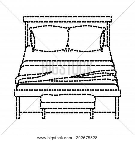 bed wooden with blanket and pair pillows with chair dotted silhouette on white background vector illustration