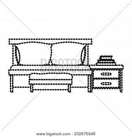 bedroom with sofa bed and books over nightstand dotted silhouette on white background vector illustration