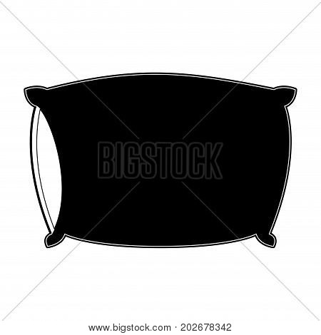 bed pillow black color section silhouette on white background vector illustration