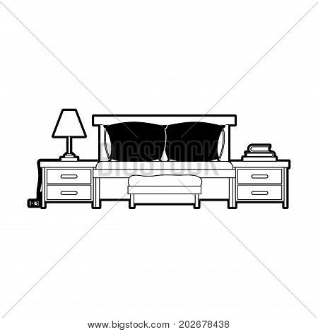 bed with nightstand black color section silhouette on white background vector illustration