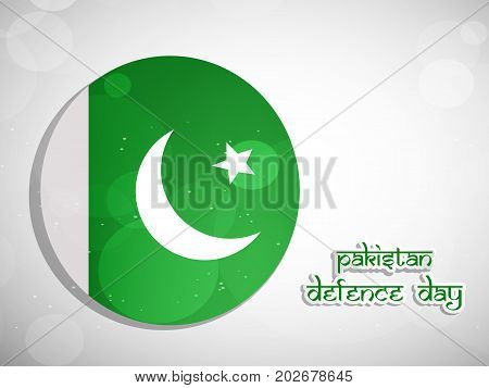 illustration of web button in Pakistan flag background with Pakistan defence Day text on the occasion of Pakistan defence day