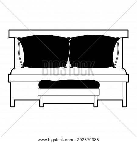 sofa bed with double pillows and wooden chair black color section silhouette on white background vector illustration